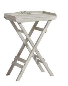 Skladací stolík z dreva TRIDET v bielej farbe.