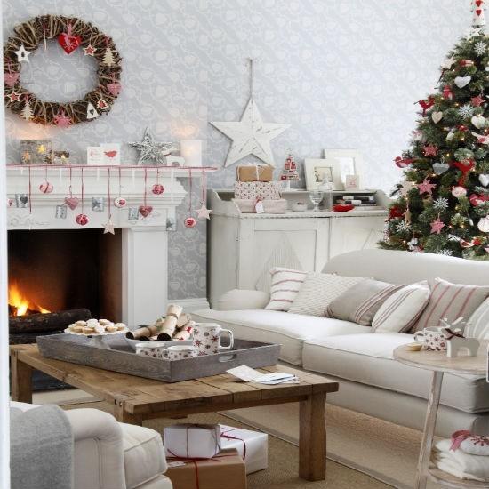 Nostalgicka vianocna obyvacka v skandinavskom style