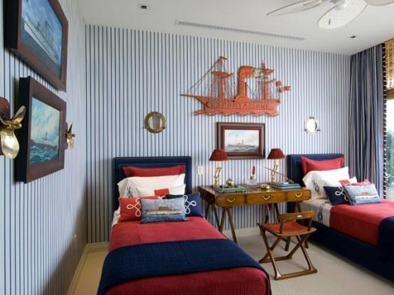 Elegantná izba v námorníckom štýle.
